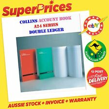 COLLINS A24 ACCOUNT BOOK DOUBLE LEDGER ANALYSIS LEAF A4 STAPLED SOFT RED COVER