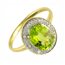 Pretty 9ct Yellow Gold Fancy Cut Oval 1.6ct Peridot & Diamond Dress Ring Size L