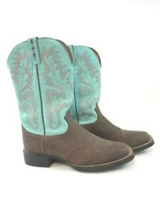 Justin Cowboy Boots Turquoise Blue Brown Western L4853 Leather Women's 8.5B