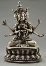 Tibet Hand-made Fine Cangyin Carve Buddha 3 Head 6 Arm Tibet Silver Statues