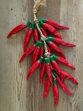 Handcrafted Red Ceramic Chili Ristra Hanging Kitchen Décor Beautiful Colorful