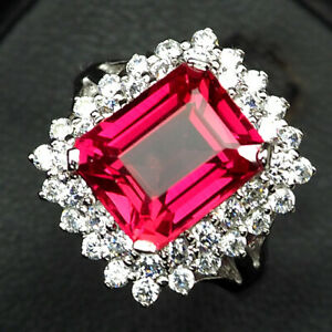 SAPPHIRE PINK PADPARADSCHA OCTAGON 6.80CT. 925 STERLING SILVER RING SZ 7.75 GIFT