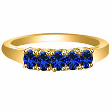 Yellow Gold Over .925 Sterling Silver Blue Sapphire 5-Stone Band Ring 14K