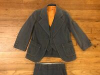 Vintage 1970's 80's JCPenney Boys Size 5/6 Denim 3 Piece Suit Coat Vest Pants