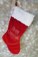 Santa's Best Red Velvet Christmas Stocking White Gold Merry Christmas Embroidery