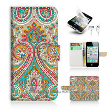 ( For iPhone 5C ) Wallet Case Cover! Indian Tribal Pattern P0023