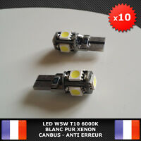 10 Veilleuses LED W5W T10 Canbus ANTI ERREUR ODB Blanc pur 6000k XENON 5 SMD