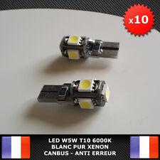 10 Veilleuses LED W5W T10 Canbus ANTI ERREUR ODB Blanc pur 6000k XENON 5 SMD