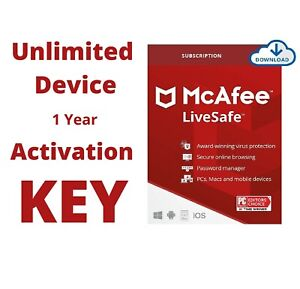 McAfee LiveSafe 2021 Unlimited Device 1 Year Activation Code with Premium VPN