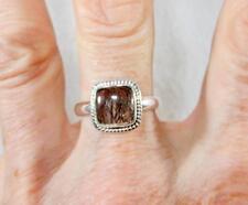Small Black Rutilated Quartz Square Ring w/Border 925 Sterling Silver Size 9.75