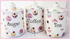 Fairy Cupcakes Tea Coffee Sugar Canisters Bone China Jars Set Hand Decorated UK