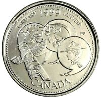 1999 Canada Millennium Series January 25 Cents Gem BU UNC Quarter!!