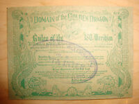Vintage WWII Domain of the Golden Dragon Ruler of the ISO Meridian Members Card