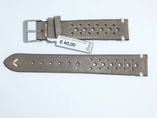 "FLUCO (Germany) Genuine Vintage Leather Watch Band 18 mm Beige ""HUNTER RACING"""