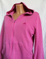 Ladies ADIDAS  full zip pink cotton Hooded Tracksuit top sz 14 LOVELY