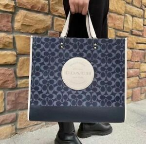 Nwt Coach Dempsey Tote 40 In Signature Jacquard With Patch