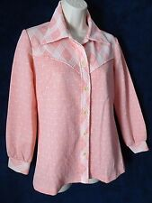 60's 70's Vintage Peachy Pink Ivory Western Disco Pointy Collar Knit Shirt Top M
