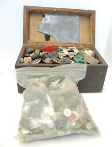 Lot of Estate Buttons - Unpicked and Mahogany Tea Caddy As Found