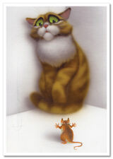 Scared CAT and brave Mouse Funny Comic Fantasy ART Russian Modern Postcard
