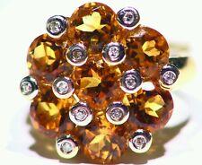 5.66ct 14k ORO NATURAL CITRINO talla Diamante Vintage Anillo Compromiso Boda