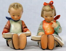 """Set of 2 Hummel Bookends Book Worm Boy & Girl 14A 14B 5.75"""" Stylized Bee Vintage"""
