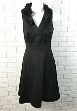 White House Black Market Sleeveless Dress 0 Black Ruffle Neck Stretch Cotton