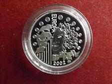 * Francia 1 1/2 euro 2002 plata pp * unión monetaria (box1)