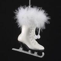 Kurt Adler Glass White Ice Skate Ornament