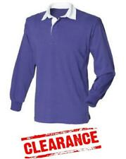 22f94a99a9f Mens Original Long Sleeve Purple Rugby Shirt Front Row Plain Scotland  CLEARENCE