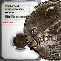 LATVIA Bronze 1922 2 Santimi Name below Ribbon Better Variety NGC MS63 BN KM# 2