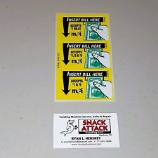 MARS VN2511 or VN2512 BILL VALIDATOR (3) DECAL STICKERS $1, $2 & $5 / Free Ship!