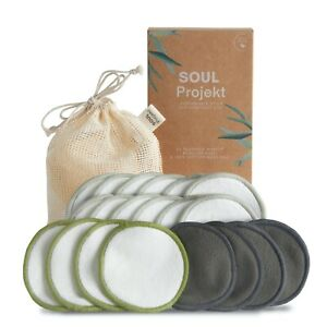 Soul Projekt 20 Pack Reusable Bamboo Make Up Remover Pads Vegan Washable