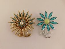 PIN BROOCH PAIR SARA COVENTRY BSK FLOWER BURST TURQUOISE COLOR SEED PEARL