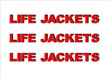 3 x LIFE JACKETS stickers for Boat Yacht Dingy Runabout Tinny