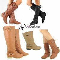 NEW Women's Shoes Knee High Mid Calf Riding Slouch Boots Military Cowboy Flat