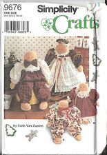 """9676 UNCUT Vintage Simplicity Sewing Pattern 15"""" 21"""" Gingerbread Dolls Clothes"""