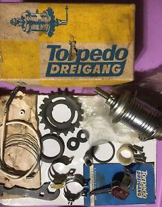 NOS Vintage TORPEDO 3 SPEED 415 Dreigang 18T FREEWHEEL 36h HUB w/TRIGGER SHIFTER