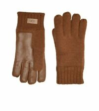 UGG Knit Tech Leather Palm Gloves with Sherpa Lining TAN Large/XL NWT
