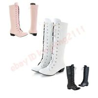 H NEW All size cosplay Womens LOW Heel Knee High Boots Lace Up Shoes flat shiny