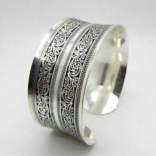 Fashion Women Vintage Silver Cuff Open Bangle Wrist Chain Bracelet Jewelry Gift