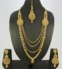 Wedding Indian Fashion Jewelry Bridal Necklace Set Earring Tikka Gold Plated