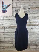 J. Crew Womens Wool Sheath Dress Sleeveless With Slit Knee Length Navy Blue Sz 2