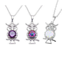 Sterling Silver 925 - Owl Charm Animal Pendant Necklace with Opal or CZ, 16+2""