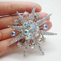 Fashion Snowflake Clear AB Rhinestone Crystal Brooch Pin Flower Pendant