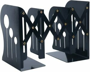 Metal Library Bookends Book Support Organizer Shelves Office Desk Black Large