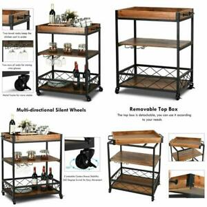 Wheeled Rolling Kitchen Trolley Serving Dining Storage Shelf 3 Tier Home Use 1PC