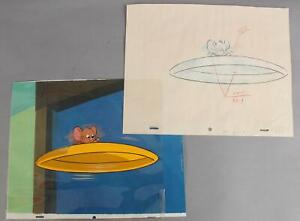 Original Tom & Jerry Full Color Animation Production Cel & Drawing Sketch NR