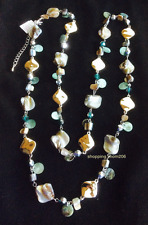 """Lia Sophia """"Ocean Air"""" Silver Tone with Abalone & Mother-of-Pearl Necklace"""