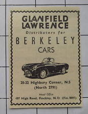GLANFIELD LAWRENCE Highbury Corner Distributors For Berkeley Cars 1958 Advert