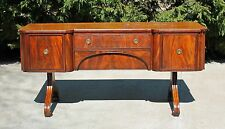 Antique Early 19th c Flamed Mahogany Sideboard Buffet with Cellaret Drawer
